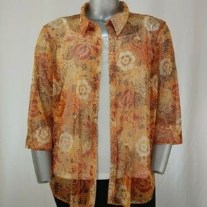 Ashley Stewart Lt. Orange Sheer Blouse, 22/24